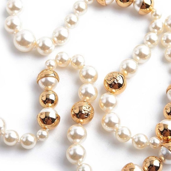 2c8577afa65408 Tory Burch Jewelry | Capped Crystal Pearl Long Necklace | Poshmark